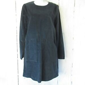New-198-Frye-Dress-S-Small-Navy-Blue-Velvet-Shift-Long-Sleeve-Pockets