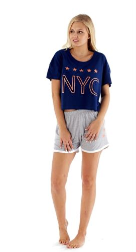 Donna SUMMER Glitter Stampa NYC Crop Top Pj Set Con Pantaloncini//Lounge Set