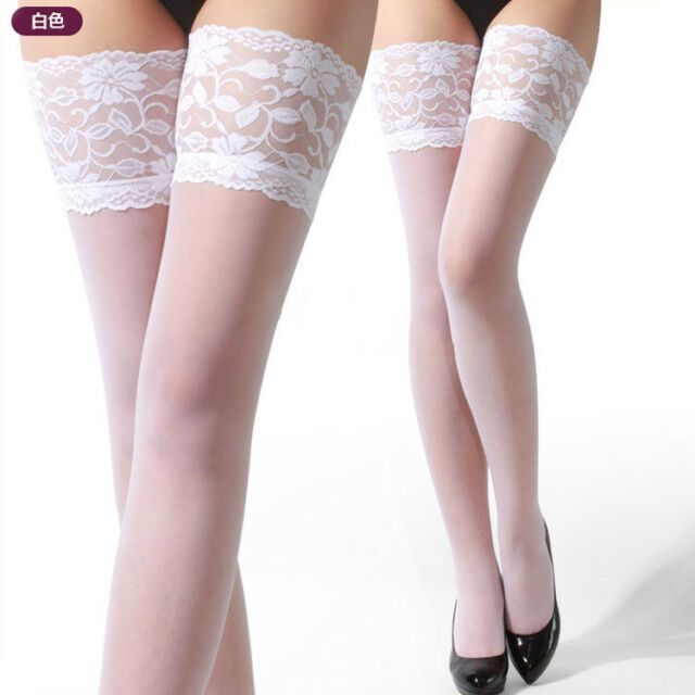 Sexy Womens Lace Top Silicone Band Stay Up Thigh High Stockings Pantyhose