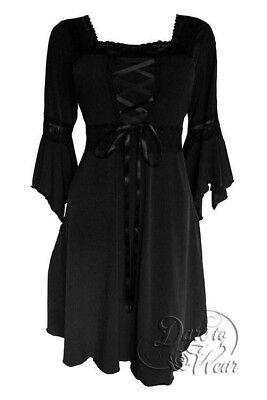 Analytical Dare To Wear Victorian Gothic Plus Size Renaissance Corset Dress In Black