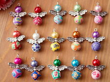 15x Handmade Angel Fairy Charms Pendants Clay Flower Beads COLOURS MAY VARY