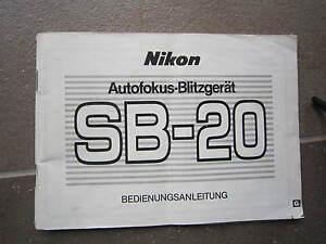 NIKON-SB-20-BLITZGERAT-BEDIENUNGSANLEITUNG-DEUTSCHE-SPRACH-ORIGINAL-TOP-ZUSTAND