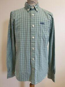 D453-Azul-Verde-para-hombre-de-Superdry-en-cuadros-Camisa-Mangas-Largas-Calce-Ajustado-Reino-Unido-L