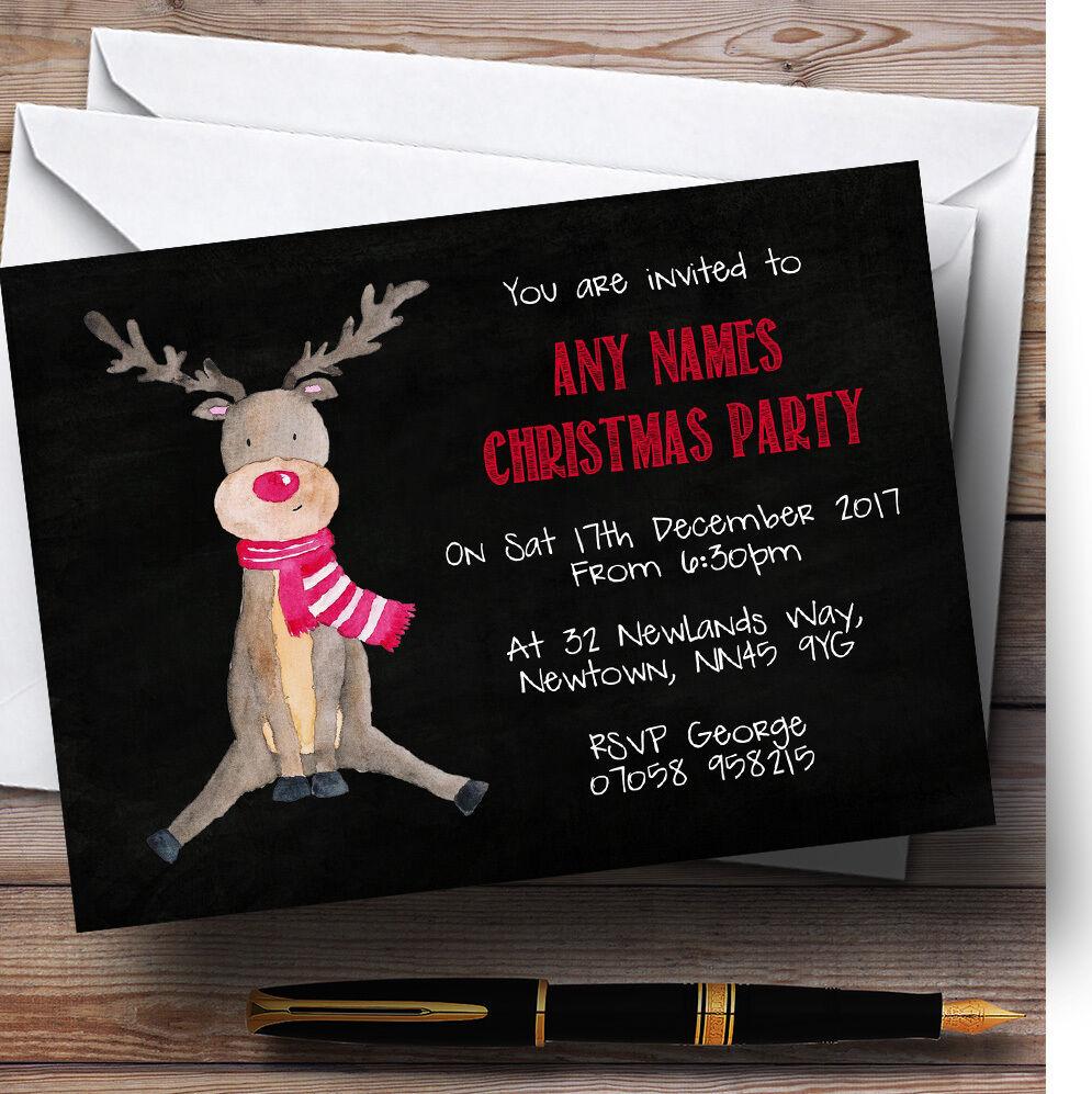 Renne craie effet effet craie personnalisé noël party invitations 427800