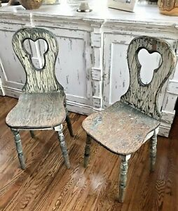 Details About Antique Primitive Distressed Parlor Ice Cream Wooden Set Of Chairs