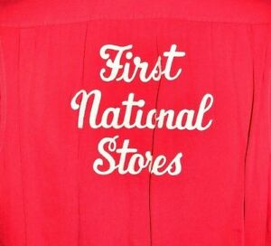 VTG 1960's First National Stores Red Bowling League Shirt Med 15 - 15 1/2 Andy