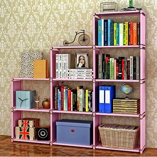 Book Shelf Book Shelves 30 Inch Bookcase Folding Storage Plastic Bookshelf Pink