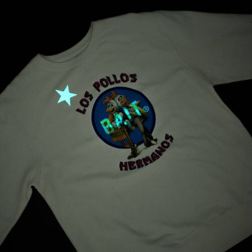 Glow In The Dark white BAIT x Breaking Bad Men Los Pollos Hermanos Crewneck