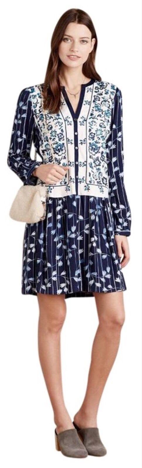 NEW Anthropologie Semele Floral Shirt Dress Größe Medium Petite