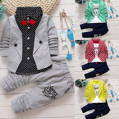 US Toddler Kids Baby Boy Gentleman Clothes Formal Party Tops Pants Outfits Set