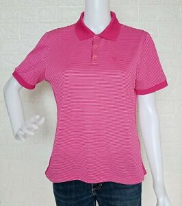 The Red Face Pink Striped Polo Shirt Collared Blouse size Large