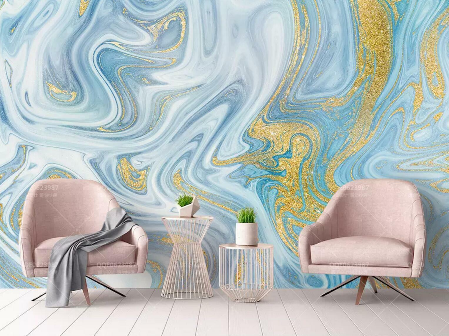 3D bluee gold Texture 45 Wall Paper Exclusive MXY Wallpaper Mural Decal Indoor AJ
