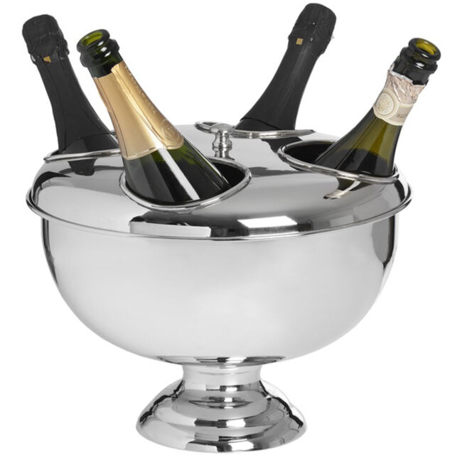 Freestanding Silver Metal 4 Bottle Drink Ice Wine Champagne Bucket Cooler Holder
