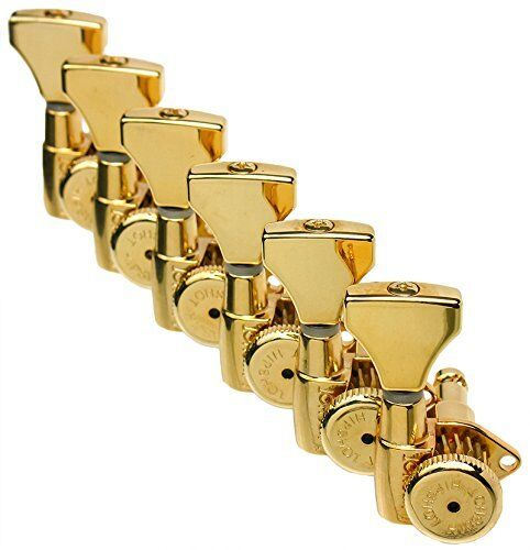 Hipshot Gold 6-InLine Grip-Lock Non-Staggerot Open-Gear Guitar Tuners w  UMP Kit