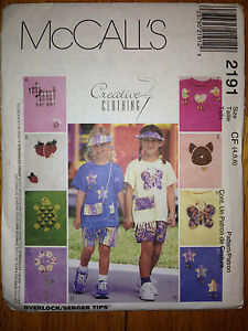 Girls-Tshirt-Shorts-Summer-Vacation-Visor-Purse-Pattern-2191-Size-4-6-McCalls
