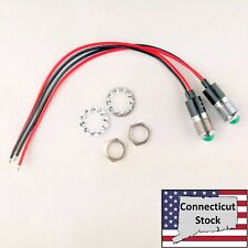 2x Green 14mm Wired Dome Dash Panel Leds Indicator Signal Lamp 12v Usa