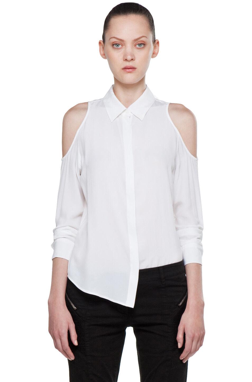NEW Equipment Nixie Silk Cold Shoulder Blouse in Weiß - Größe L  T739