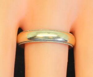 Vintage-Estate14K-Gold-Men-039-s-Wedding-Reeded-Band-Ring-Not-Scrap-5-9Gr-Size-10-25