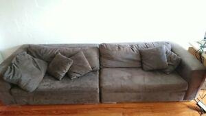 Domayne 4 Piece Jigsaw Fabric Modular Lounge Brown Ebay