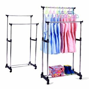 Image Is Loading Portable Double Rods Rolling Clothes Rack Adjustable Garment