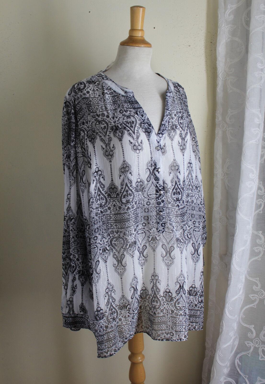 NWT Roz & Ali -Sz 3X Elegant Fine Boho Hippie Paisley Sheer Tunic Top Shirt