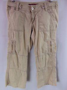 Baby-Phat-Jean-Co-Khaki-Tan-Cargo-Crop-Capri-Pants-Women-039-s-Size-S
