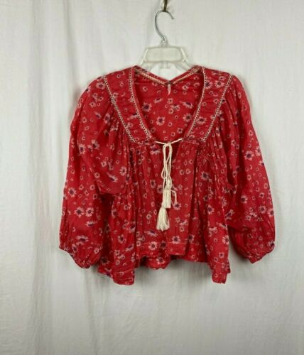 Free People Red Daisy Peasant Boho Top Blouse- XS