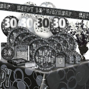 AGE-30-Happy-30th-Birthday-BLACK-amp-SILVER-GLITZ-Party-Range-Banners-amp-Napkin