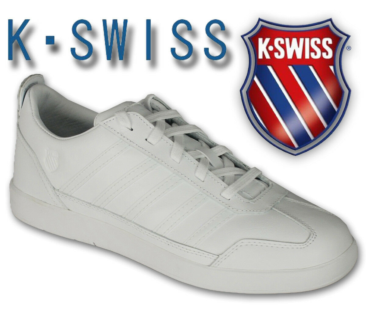 Uomo Trainers K Swiss Lace Up Schuhes Leder Walking Jogging Casual Weiß New