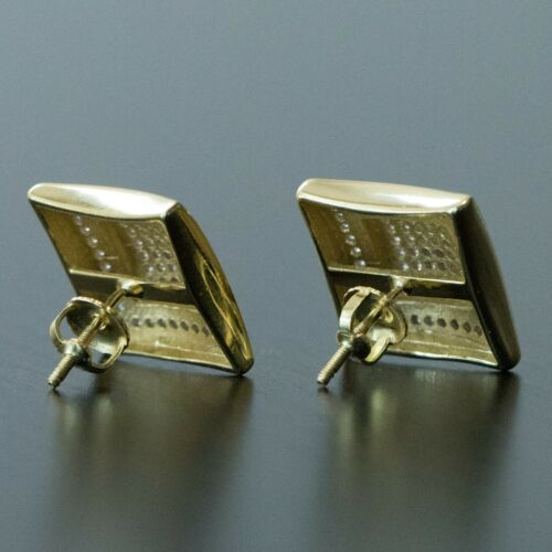 Men/'s 14K Gold Plated Large CZ Iced Square Stud Hip Hop Screw On Back Earrings