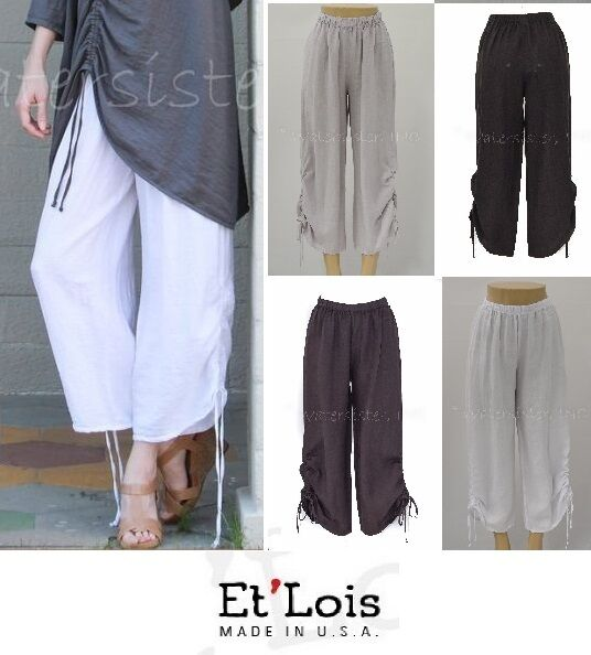 ET'LOIS USA Light Linen  STACY PANT  Side-Drawstring Pants XS S M L XL  COLORS