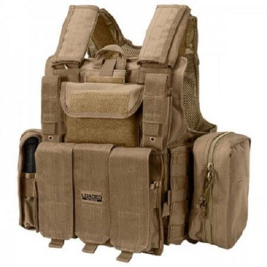 Barska Loaded Gear Tactical Vest VX-300 Plate Carrier MOLLE Vest Set FDE EARTH-