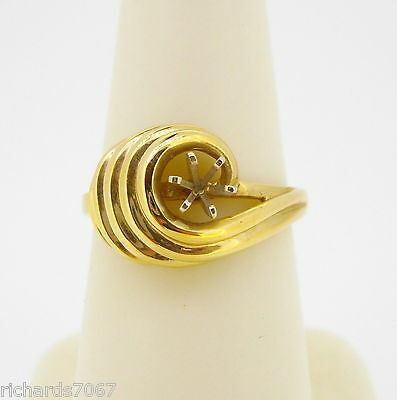 Ring 14k yellow gold mounting solitaire domed swirl finger size 5 3/4