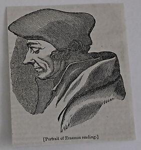 small-1832-magazine-engraving-Portrait-of-ERASMUS-reading
