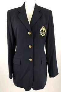Ralph-Lauren-Blue-Worsted-Wool-Puffy-Crown-Crest-Academy-Blazer-Jacket-Sz-2P