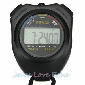 Black-Handheld-Digital-LCD-Chronograph-Sports-Stopwatch-Counter-Timer-with-Strap