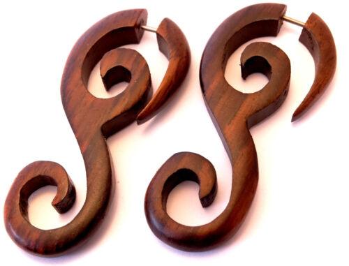 Faux Ecarteur Bois Boucle d/'oreille spirale Wooden Gauge Earring Fake marron