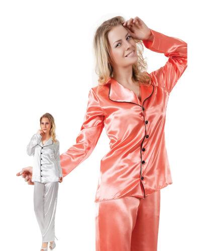 Women Ecru Satin Pyjama Set with Black Trim  European Products