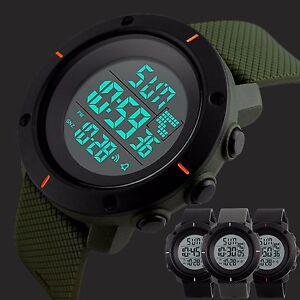 Mens-Sport-LED-Digital-Wristwatch-50M-Waterproof-Dive-Watches-Rubber-Strap-Male