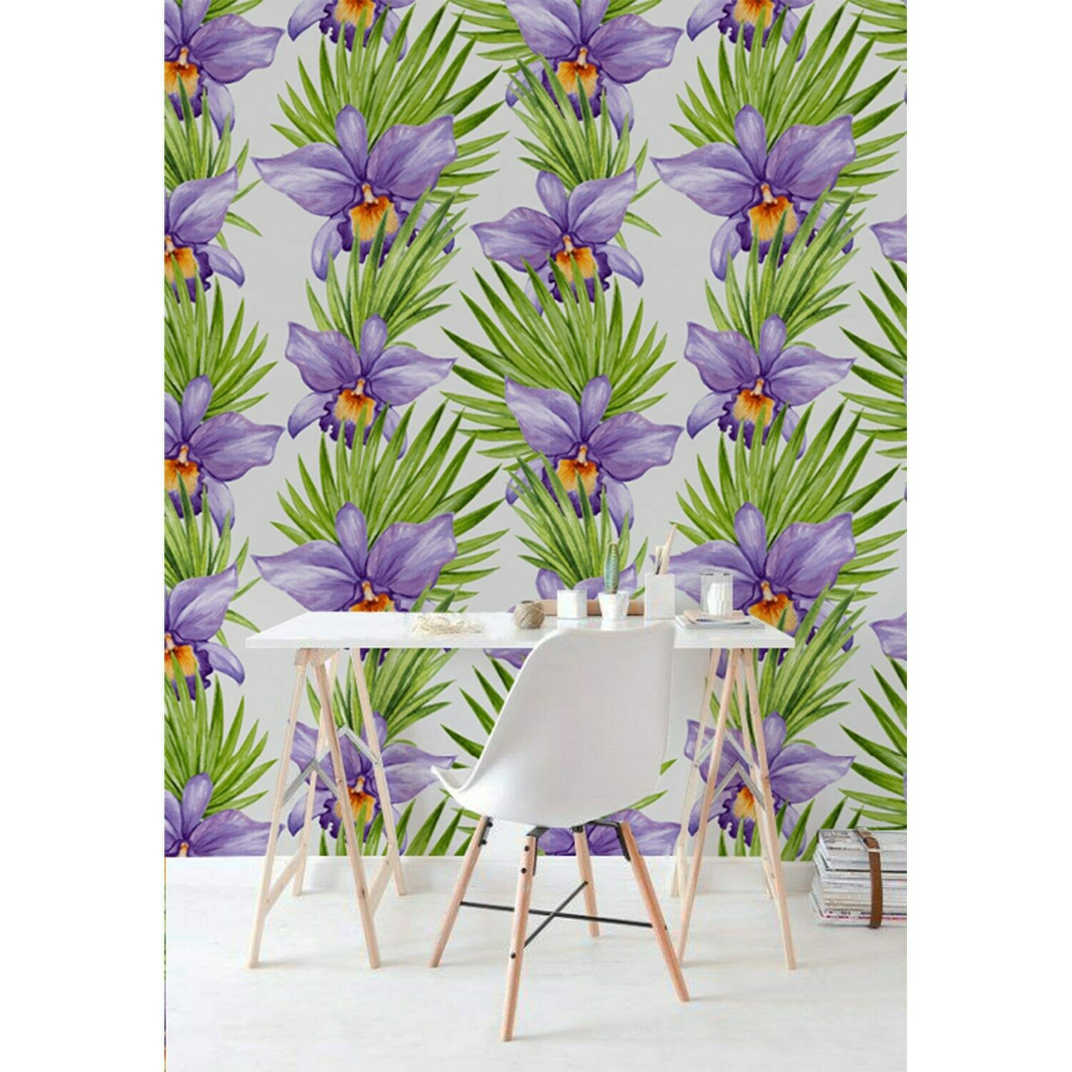 lila floral Non-Woven wallpaper meadow nature Traditional spring blooming