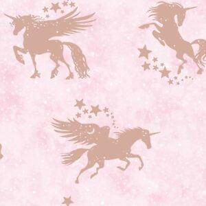 Over-The-Arc-En-Ciel-Iridescent-Licornes-Papier-Peint-Rose-Dore-Bedrooms-90951