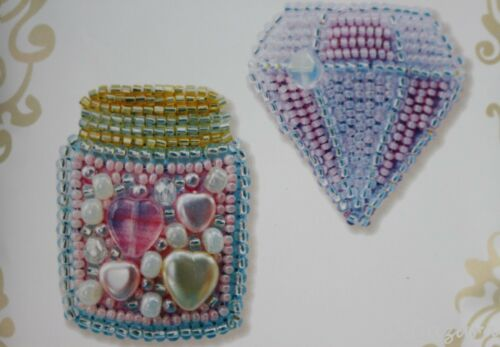 Brosche selber besticken Stickpackung mit Perlen  Pailletten Komplett 381