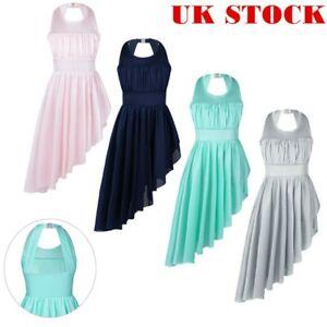 UK-Girls-Lyrical-Halter-Dance-Dress-Kids-Ballet-Ruched-Leotard-Skirt-Dancewear