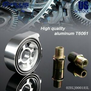 Racing-Sport-JDM-Aluminum-Oil-Gauge-Filter-Sandwich-Adapter-Plate-Silver-Kit