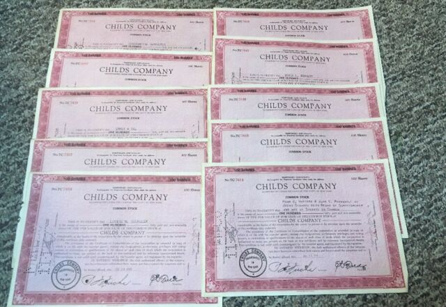 10 Childs Company Stock Certificates 1948 100 shares each