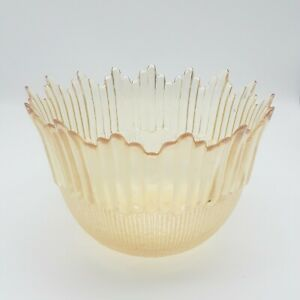 Art-Deco-Amber-Glass-Lamp-Shade-Cover-Swag-Flared-Ribbed-Textured-1-5-034-hole