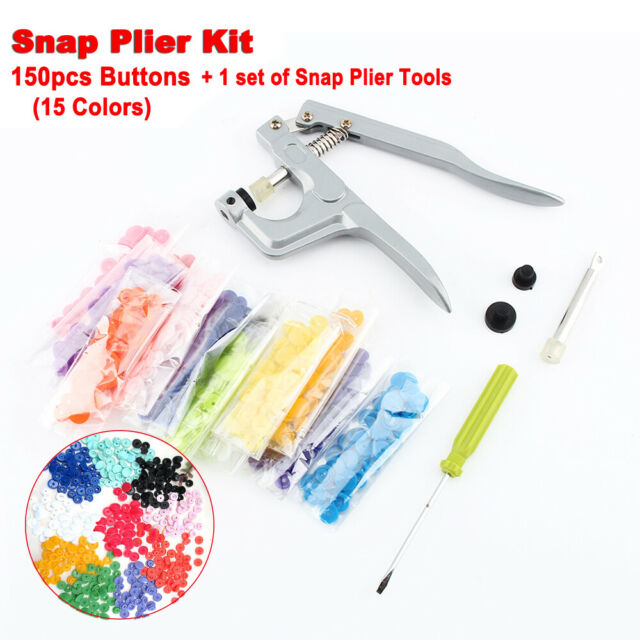 150 Set DIY Craft KAM Snaps T5 Snap Starter Plastic Poppers Fasteners W/Pliers