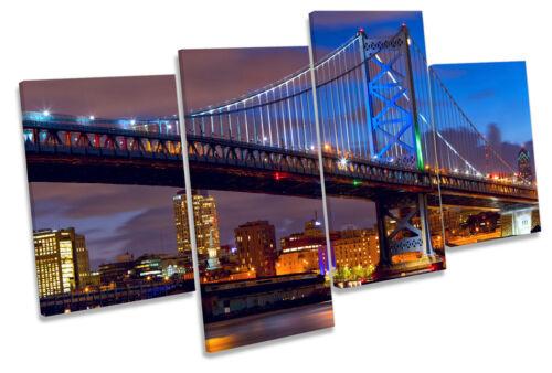 Philadelphia Skyline Ben Franklin Bridge Multi Toile Mur Art boxed encadrée