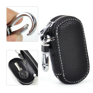 Black-Car-Auto-Leather-Smart-Remote-Zipper-Fob-Key-Holder-Bags-Cover-Chain