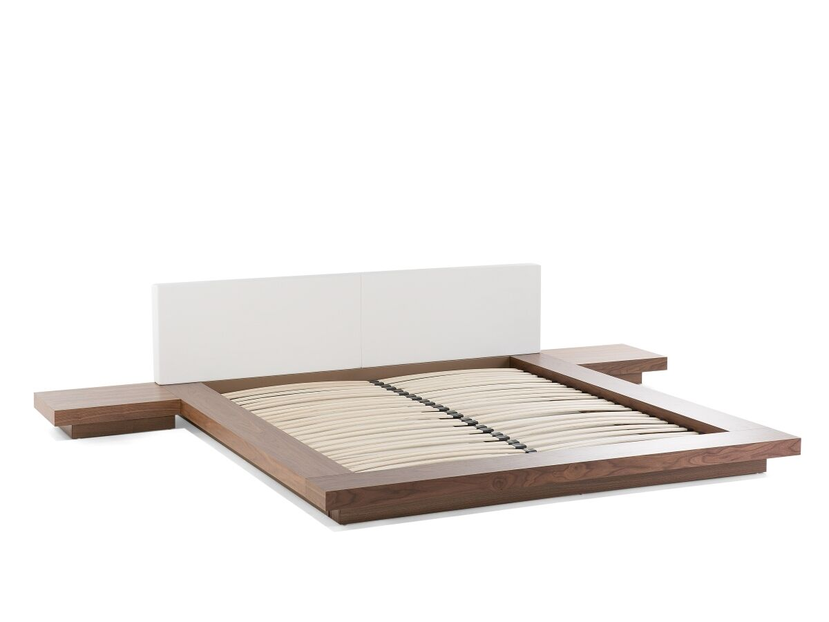 designer bett japan mit lattenrost japanisches massives flaches japanbett braun ebay. Black Bedroom Furniture Sets. Home Design Ideas